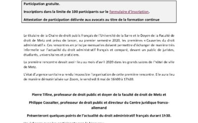 Premières causeries du droit administratif le 8 mai 2020 à 16 h